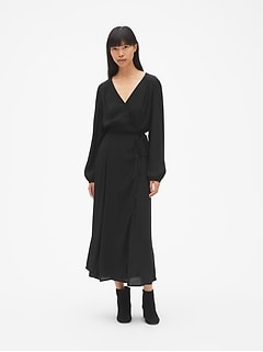 Long Sleeve Wrap Midi Dress