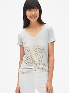 Favorite Metallic Graphic V-Neck T-Shirt