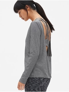 GapFit Breathe Long Sleeve Strappy U-Back Top
