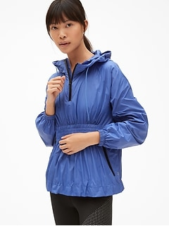 GapFit Packable Popover Windbreaker with Smocked Waist