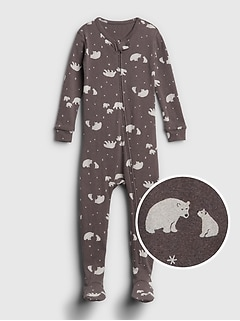Organic Bear Print Footed One-Piece