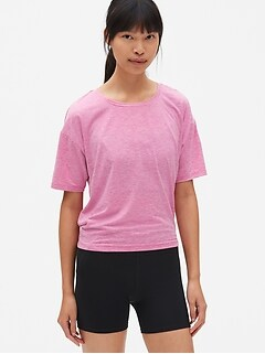 GapFit Breathe Short Sleeve Stripe Open-Back T-Shirt