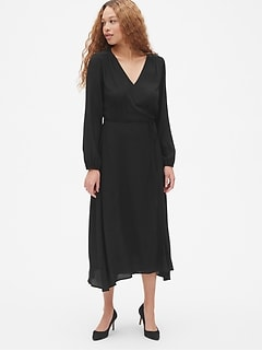 Long Sleeve Flounce Wrap Midi Dress