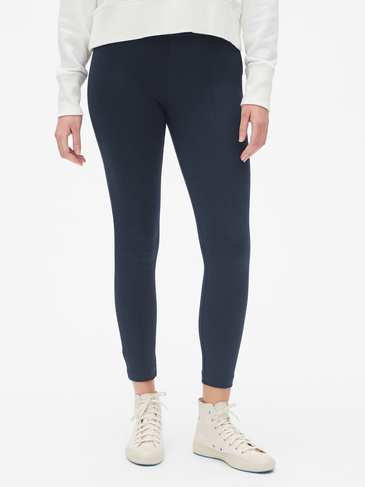 4c06354f6a3ab Side-Zip Ponte Leggings | Gap