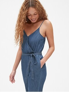 Denim Cami Wrap Jumpsuit