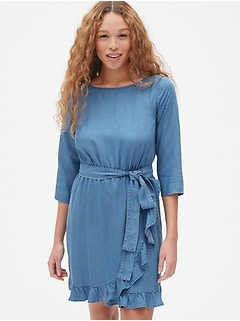 Faux-Wrap Ruffle Hem Dress in TENCEL&#153