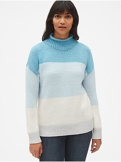 Stripe Mockneck Pullover Sweater in Wool-Blend