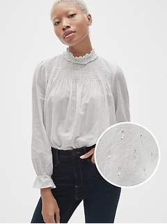 Smocked Ruffle Mockneck Blouse in Metallic Clip-Dot