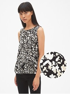 Floral Print Sleeveless Shirred Ruffle-Hem Top