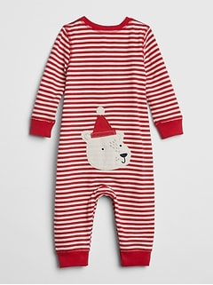 Organic Cotton Stripe Bear One-Piece