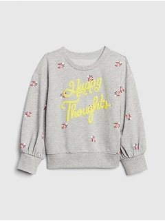 Toddler Graphic Print Puff-Sleeve Sweatshirt