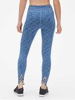 GapFit Blackout Lattice-Back Spacedye Full Length Leggings
