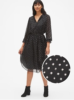 Metallic Print Long Sleeve Midi Dress