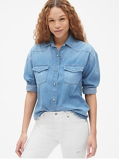 Oversized Denim Western Shirt