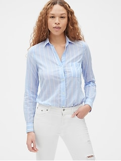Fitted Boyfriend Dobby Stripe Shirt