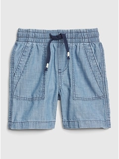 Pull-On Chambray Utility Shorts