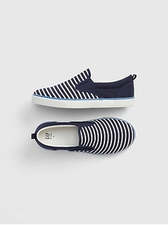 Kids Railroad Stripe Slip-On Sneakers