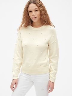 Bobble Stitch Crewneck Pullover Sweater