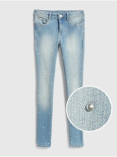 Superdenim Gem-Studded Super Skinny Jeans with Fantastiflex