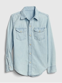 Kids Chambray Long Sleeve Shirt