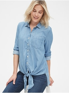 Maternity Tie-Front Shirt in TENCEL™