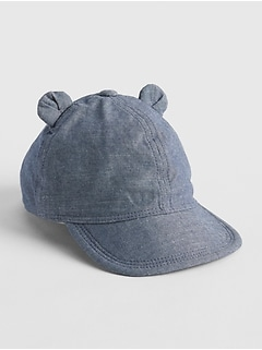 Chambray Bear Ear Baseball Hat