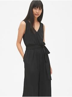 Sleeveless Tie-Waist Wide Crop Leg Jumpsuit in Modal