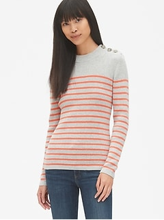 Stripe Button-Shoulder Pullover Sweater