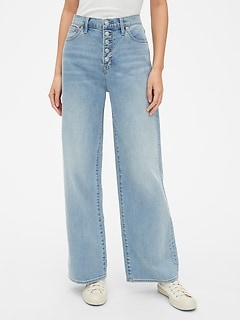 High Rise Wide-Leg Jeans with Button-Fly