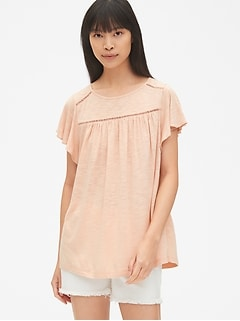 Soft Slub Flutter Sleeve Smock Top