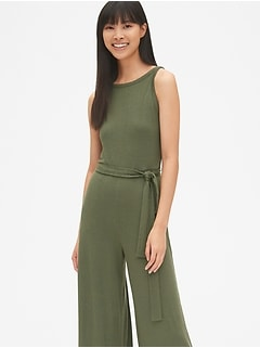 Sleeveless Knit Tie-Belt Jumpsuit