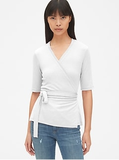 Softspun Short Sleeve Tie-Waist Wrap Top