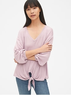 Softspun Balloon Sleeve Tie-Front Top