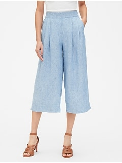 High Rise Wide-Leg Crop Pants in Pure Linen