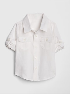 Baby Convertible Shirt In Linen