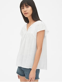 Short Sleeve Textured Pattern Smock Top