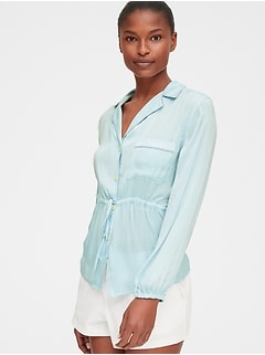 Dreamwell Long Sleeve Tie-Waist Top in Satin
