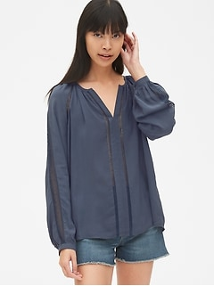Lace-Trim Long Sleeve Split-Neck Blouse in Modal