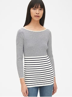 Ribbed Three-Quarter Sleeve Boatneck Pullover Sweater
