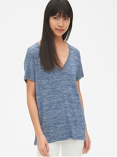 Softspun Mix-Fabric V-Neck Top