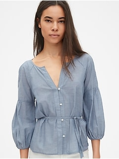Balloon Sleeve Button-Down Blouse in Chambray