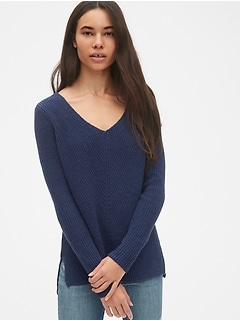 Diagonal Ribbed V-Neck Pullover Sweater Tunic