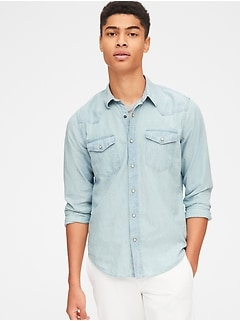 Denim Western Shirt in Slim Fit