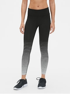 GapFit Gradient Stripe Full Length Leggings in Eclipse