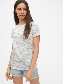 Vintage Short Sleeve Camo Print Crewneck T-Shirt 37fddf7002