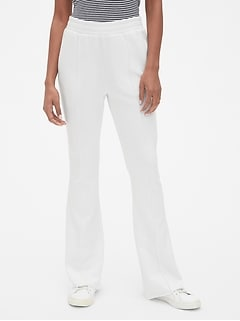 Flare Pintuck Track Pants in French Terry