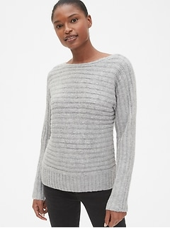 Horizontal Ribbed Boatneck Sweater in Wool-Blend