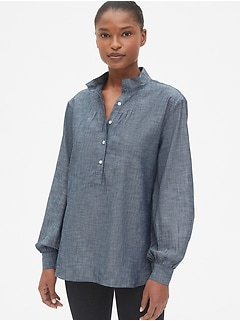Shirred Popover Shirt in Chambray