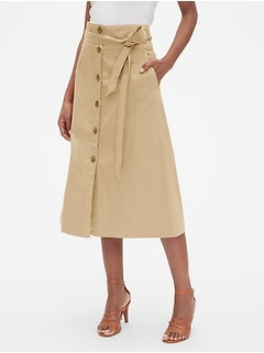 Tie-Belt Button-Front Midi Skirt