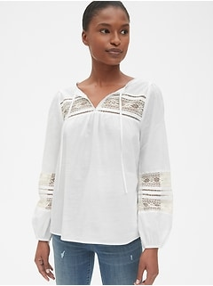 Lace-Insert Split-Neck Peasant Blouse
